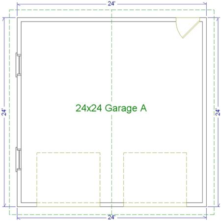 24 39 x 24 39 two car garage a modular garages custom for Garage dimensions 2 5 car